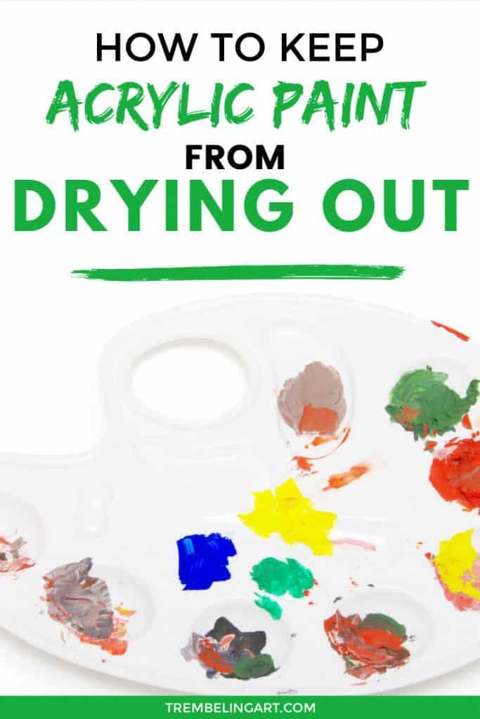 acrylic paint palette with various color paint