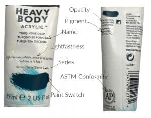 front and back of acrylic paint tube
