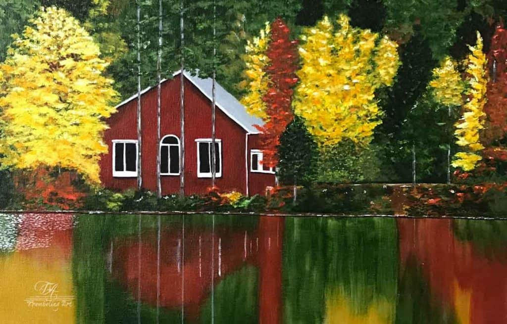 acrylic painting of a cabin by a lake