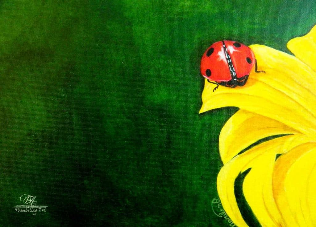 acrylic painting of a lady bug
