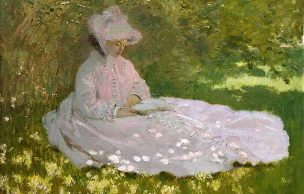 Lukisan realisme seorang wanita dengan payung oleh Monet