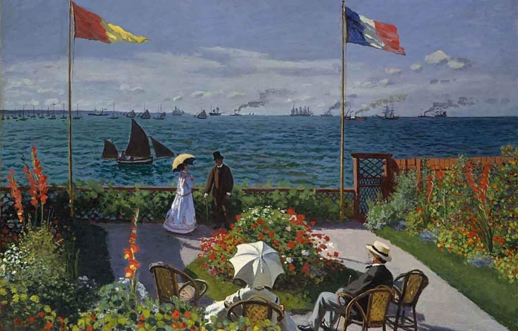 painting of people in a garden overlooking the ocean by Claude Monet