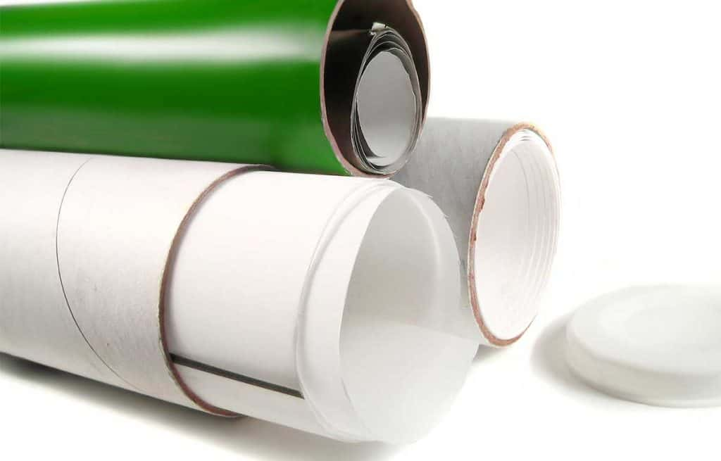 white and green shipping tubes for artwork