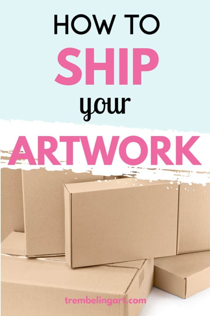 shipping boxes against a blue background with text overlay how to ship your artwork