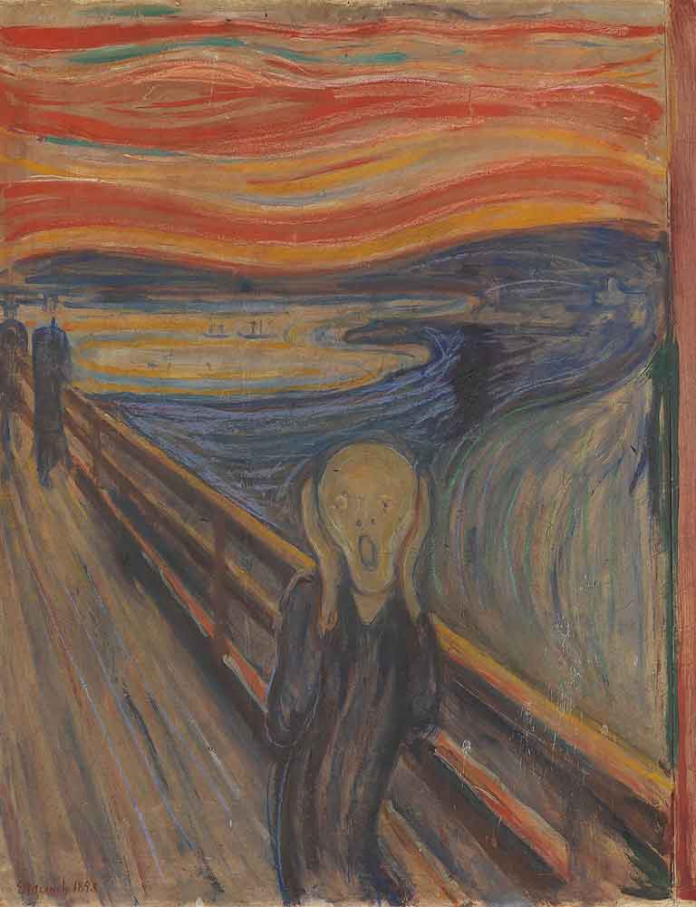 painting of a person screaming by Edvard Munch