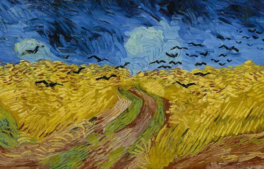 painting of a field of yellow grass with black birds and dark sky