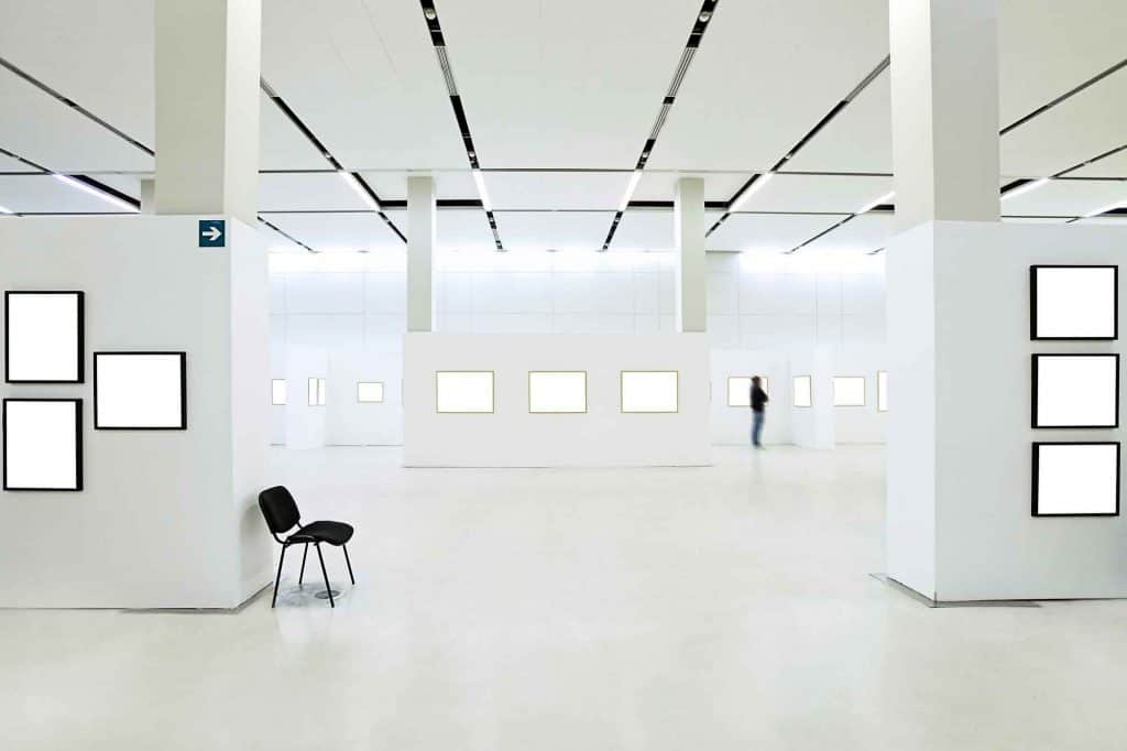 white art gallery with blank frames