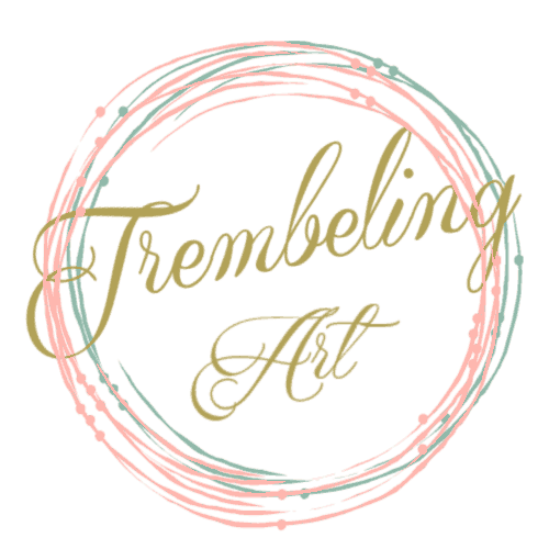 green and peach circles with gold text trembeling art