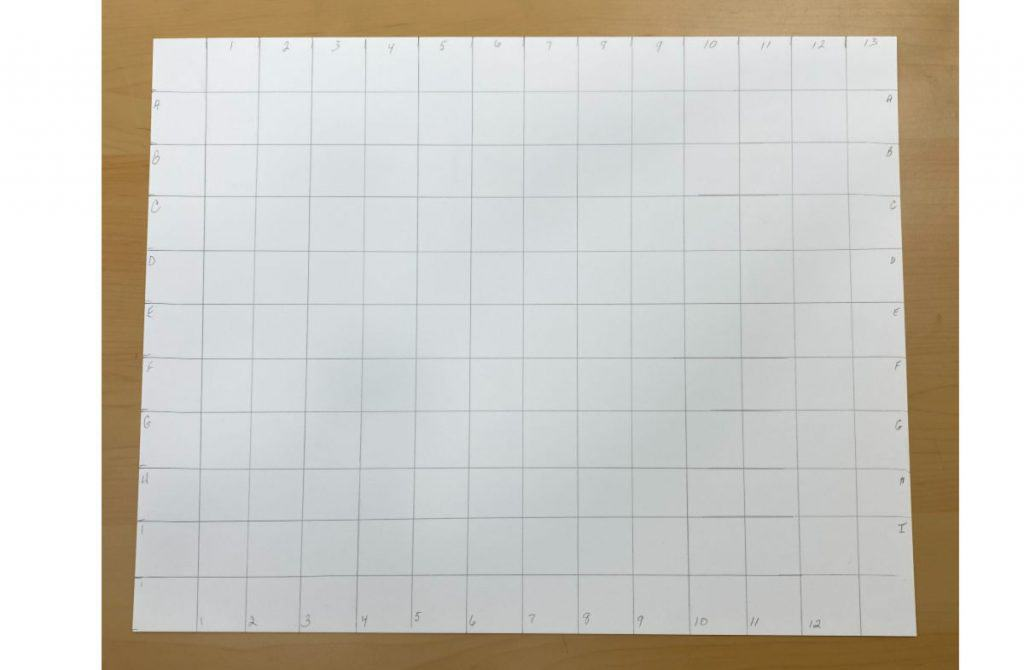 white sheet of paper with a grid drawn on it