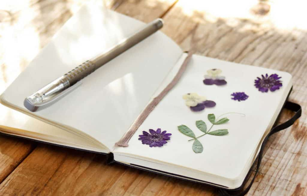 open art journal on a table with purple flowers, green leaves and a brown pen