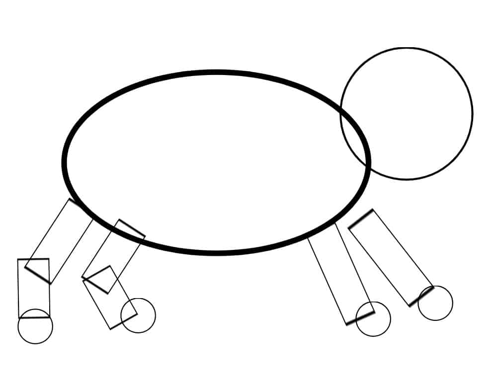circles and rectangles in the shape of a dog.