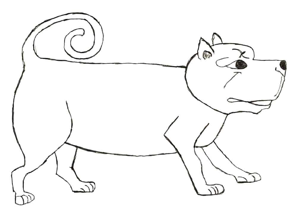 drawing of a dog