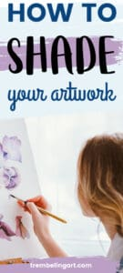 picture of an artist at an easel painting purple flowers