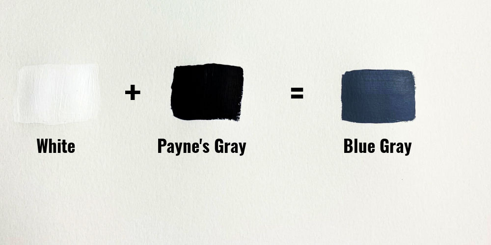 white, paynes gray and blue gray paint swatches