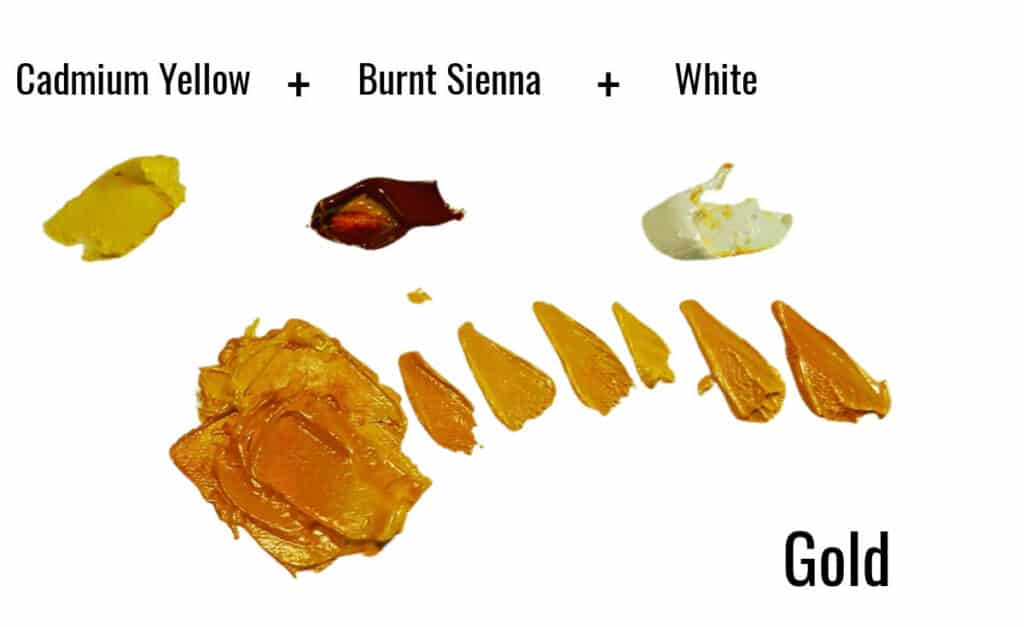 yellow, burnt sienna and white paint swatches showing how to mix gold paint
