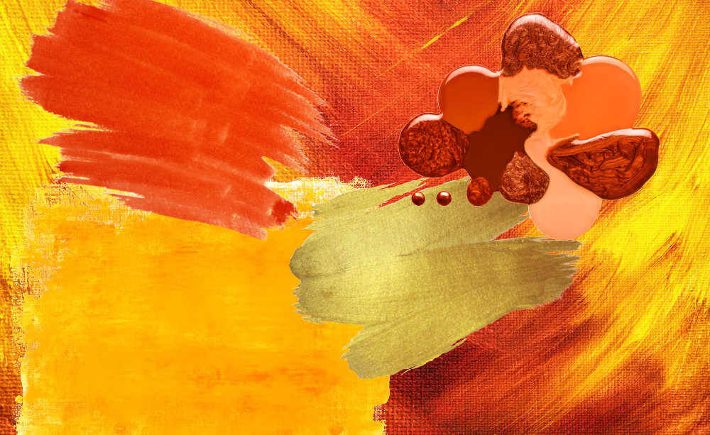 splashes or orange, gold and red acrylic paint