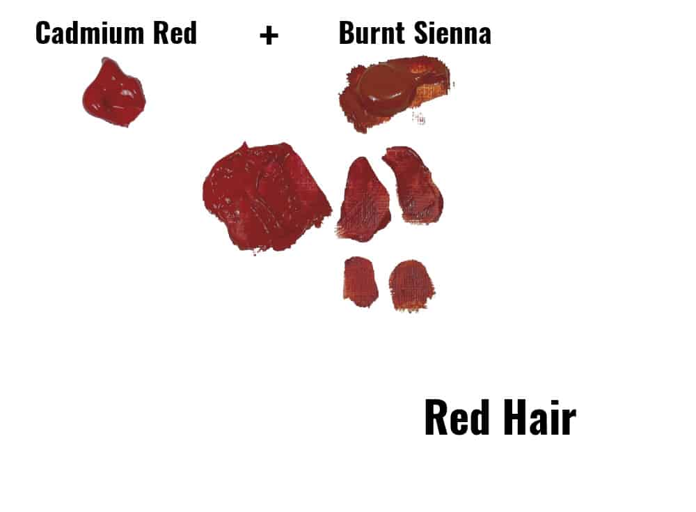 red and burnt sienna paint swatches showing a paint mix for red hair
