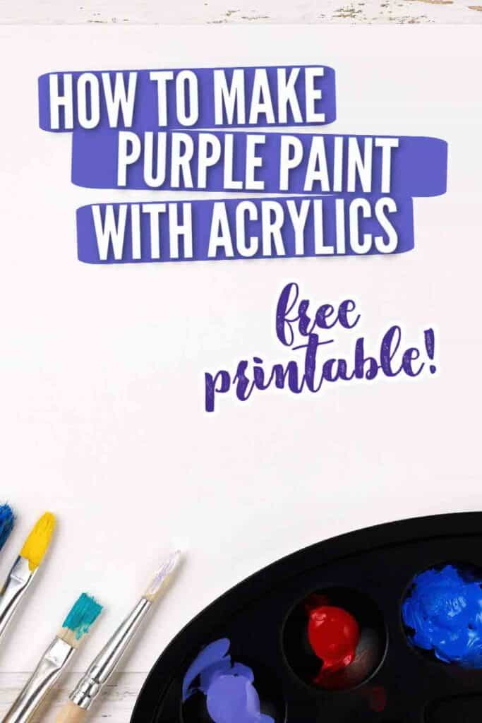 black painters palette with purple, blue and red paint and paint brushes