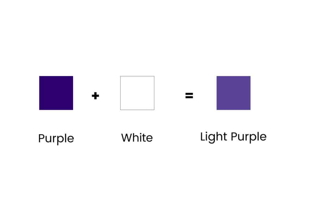 purple and white squares showing how to mix light purple