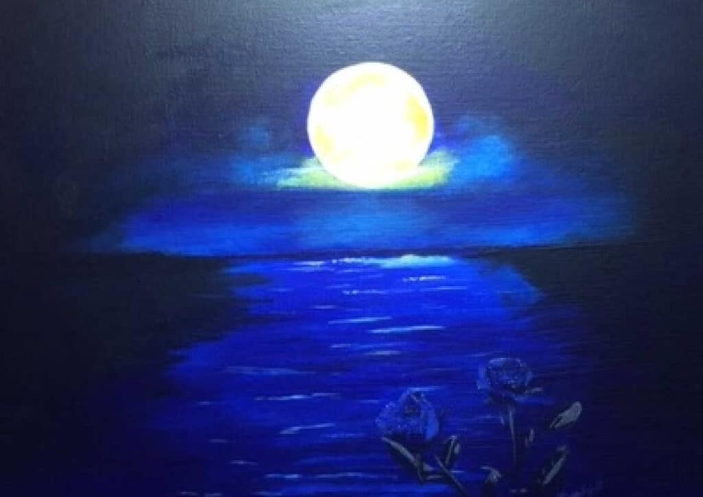 value painting of a moon shining on a river and blue roses