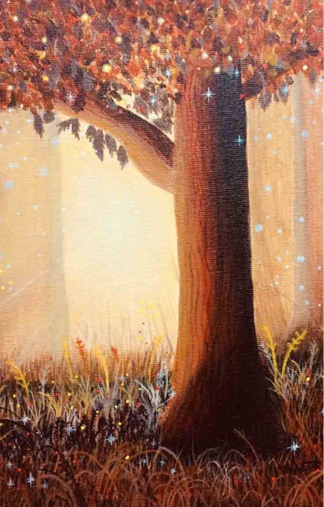 acrylic painting of a tree with fall leaves and fairy twinkles