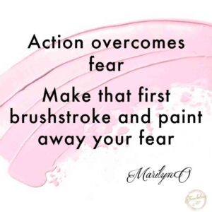 pink paint streak on white background with art quote