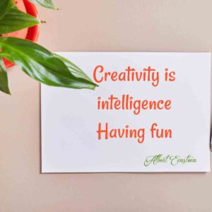 White paper on a brown background with a green plant in a red pot and a creativity quote by Einstein