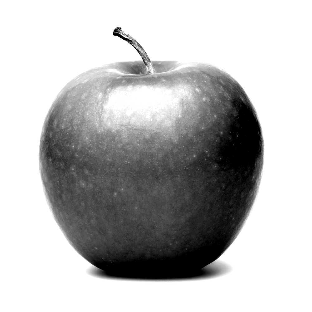 black and white picture of an apple