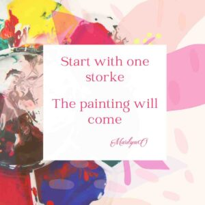 multicolored splashes of paint with art quote overlay
