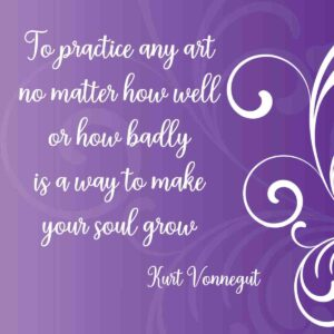 purple background with white swirls and art quote in white letters