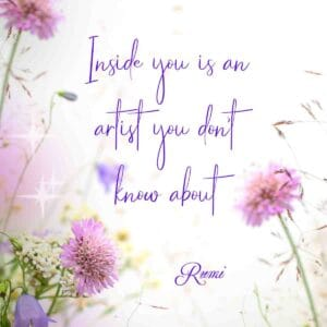 purple and pink flowers on a blurred background with art quote overlay