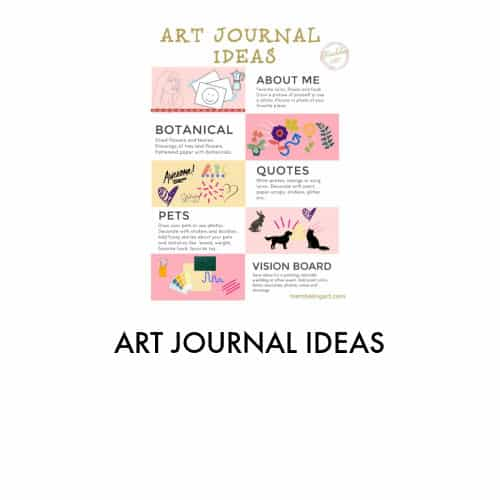 pink and gold chart showing various art journal ideas