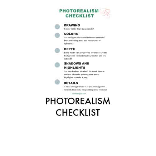 photorealism checklist with green dots