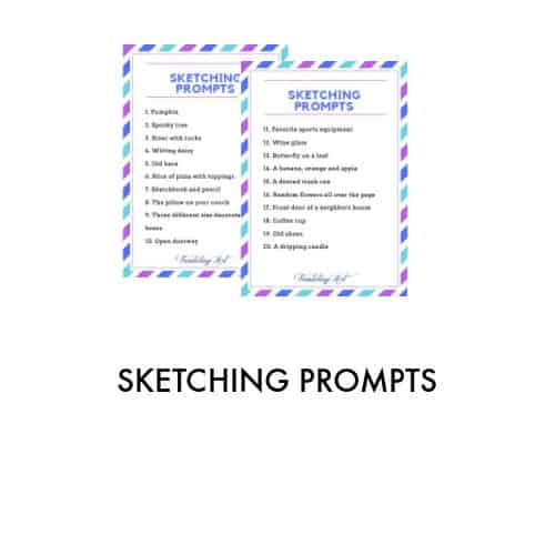 picture of two sketching prompt lists outlined in blue, green and purple dashes