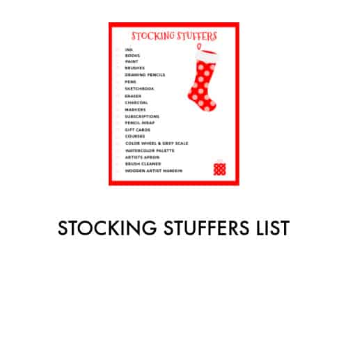 list of stocking stuffers with a red and white Christmas stocking on white paper outlined in red.