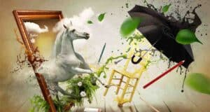 painting collage of white horse going through a frame with a yellow chair and black umbrella