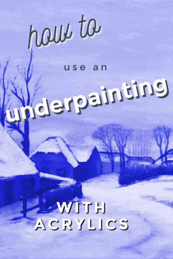 blue monotone painting of a village in winter
