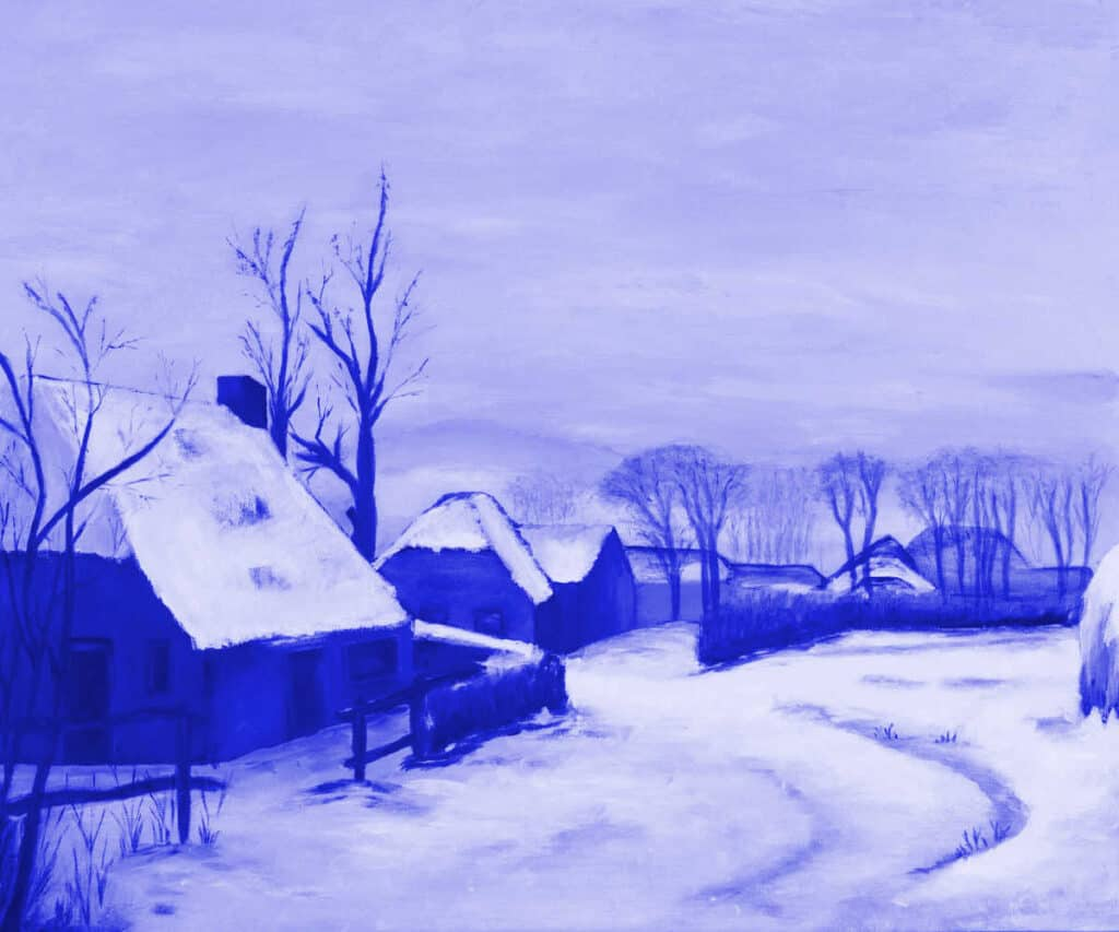 greyscale painting of village in winter with blue glaze