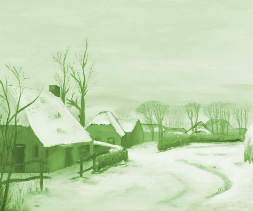 greyscale painting of village in winter with green glaze