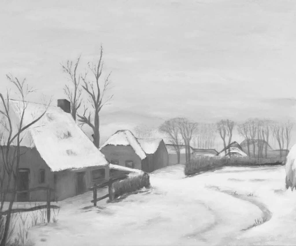 grey scale painting of small village in winter