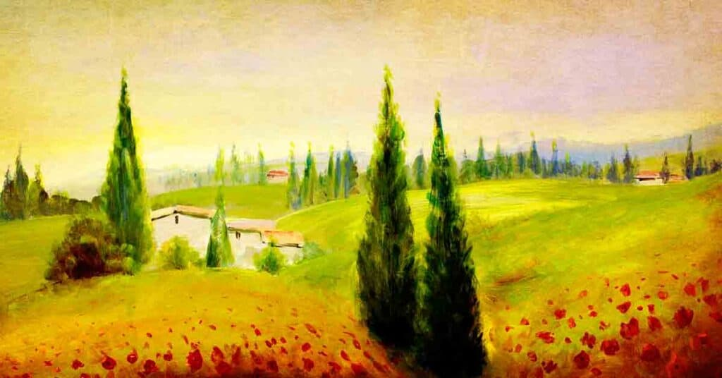 perspective painting of green trees and white houses in a field
