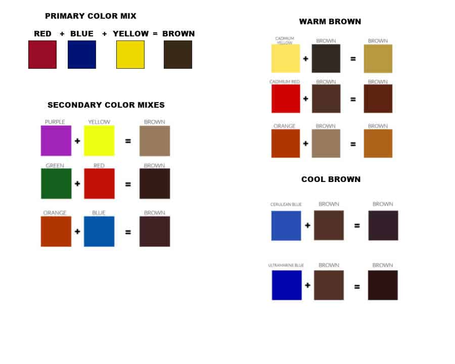 color chart of brown paint mixes