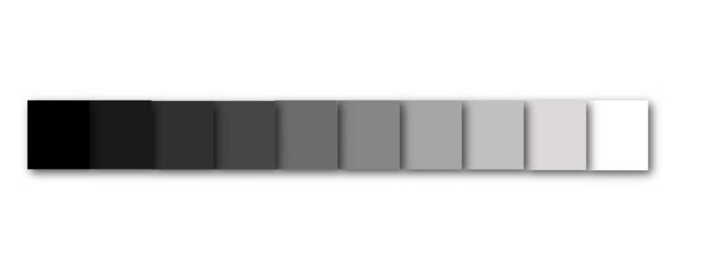 value scale ranging from black to white