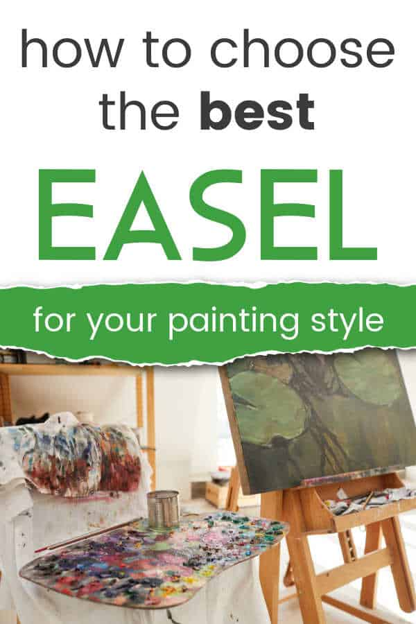 artist easel holding a painting of green leaves and artist palette with paint