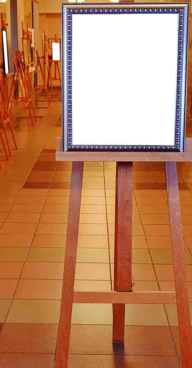 A-Frame easel with a blank canvas