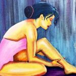 acrylic painting of a ballerina in a pink dress sitting on the floor