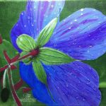 acrylic on canvas of a blue flower by trembelingart