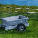 acrylic painting of an old box car by trembelingart