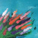 acrylic painting of various colored flowers by trembelingart