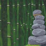 acrylic painting of stacked rocks on a background of green bamboo by trembelingart
